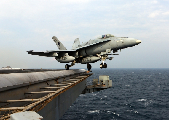 US Navy F-18 launching off the USS Eisenhower in the Persian Gulf FI1A2752