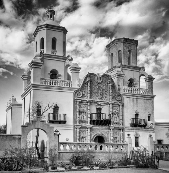Tucson San Xavier del Bac in B & W